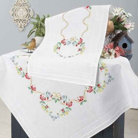 Colorful Flower Heart Table Topper & Runner Stamped Cross-Stitch Kit - Herrschners