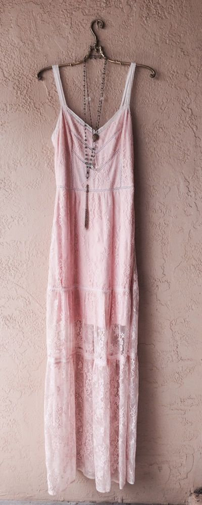 Anthropologie Bohemian  Nude blush pink Gypsy lace Bridesmaid Maxi gown