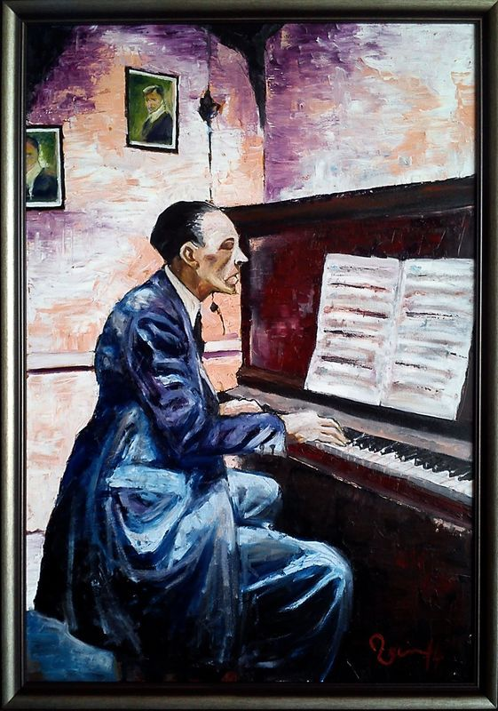 Pianist in pink room Oil on canvas 85x60 by Veen
