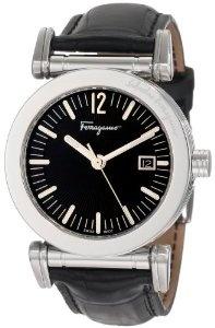 Ferragamo Men's F50LBQ9909 S009 Salvatore Black Genuine Alligator Black Dial Watch