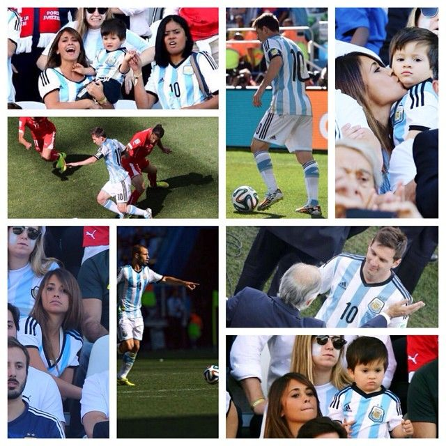 Mascherano, messi, and messi's girlfriend and son during argentina's last match!