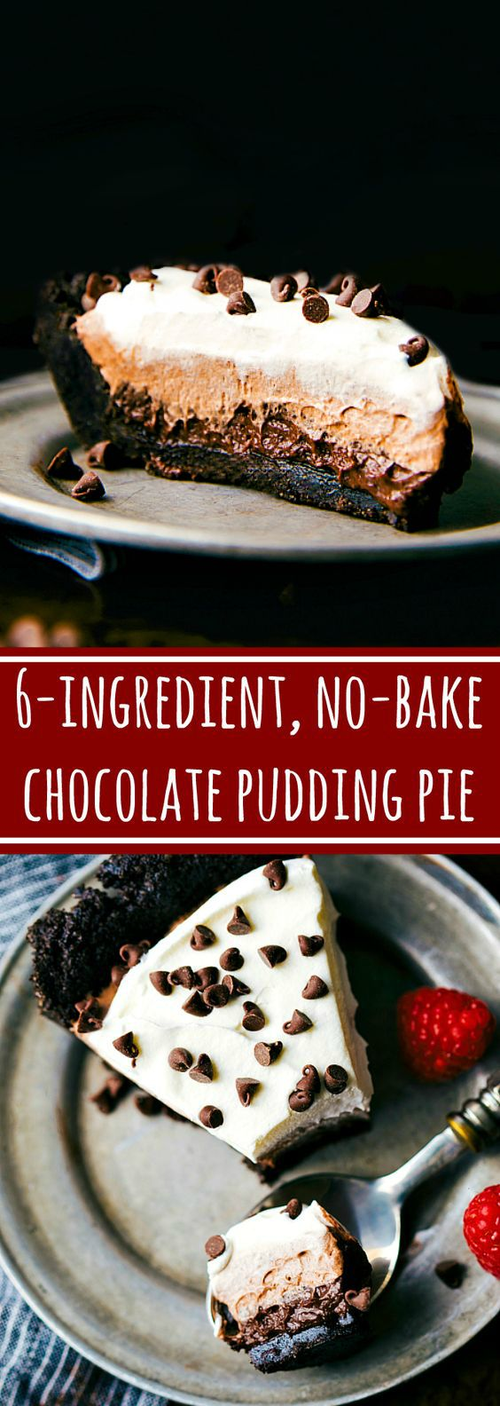 The BEST and easiest dessert! 6-ingredient NO BAKE Chocolate Pudding Pie. Impressive looking, little effort
