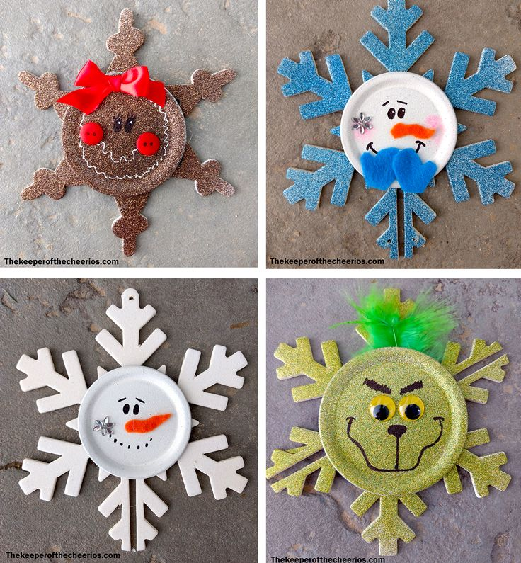 Snowflake Christmas Ornaments Materials: Wood snowflake ornaments (misc. sizes) Mason jar lids (misc. sizes) Orange and blue felt Glitter blast spray paint White spray paint Black sharpie White paint pen Wiggle eyes Green marabou feathers misc. embellishments Bows Red buttons Hot glue and glue gun (or other craft glue) Pink craft paint and brush scissors Directions: Spray paint your wood snowflakes and mason jar lids with a white primer Spray glitter blast on both the snowflake and mason jar…