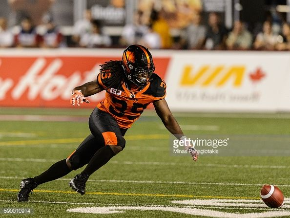 Running back Shaquille MurrayLawrence of the BC Lions runs after the ball during the CFL game against the Montreal Alouettes at Percival Molson...