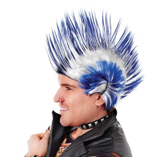 Punker hanenkam pruik blauw en wit. Fel gekleurde hanekam pruik in de kleuren blauw met wit. Deze pruik is geschikt voor volwassenen.