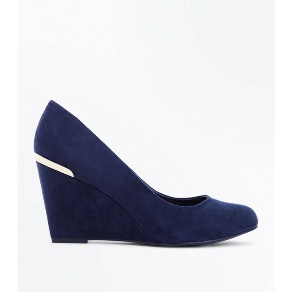 Wide Fit Navy Comfort Flex Suedette Wedge Heels (1,655 DOP) ❤ liked on Polyvore featuring shoes, sandals, navy, navy wedge sandals, wedge shoes, wedge sandals, leather wedge sandals and navy blue sandals