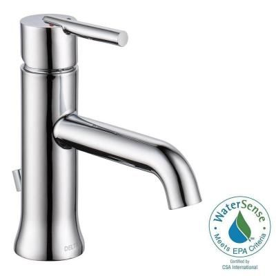 delta trinsic single hole midarc bathroom faucet in chrome grey with popup