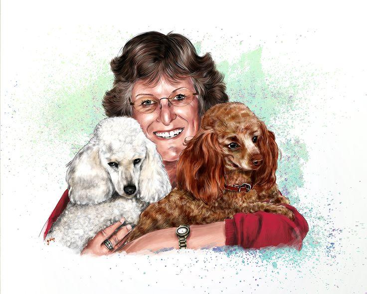 Commissioned portrait(s) of Josie and her furry friends :)  Commission info & requests: https://www.etsy.com/au/listing/191989009/custom-pet-portrait-beautiful-digital?ref=shop_home_active_2