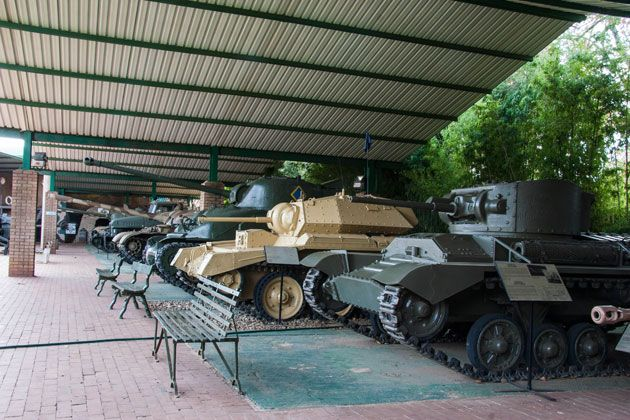 A wide variety of tanks  http://citysightseeing-blog.co.za/2014/06/07/ditsong-national-museum-of-military-history-johannesburg/