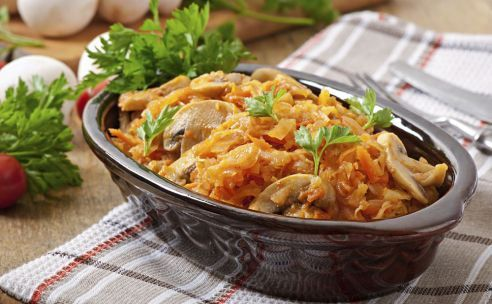 vegetarische zuurkoolschotel met rosti