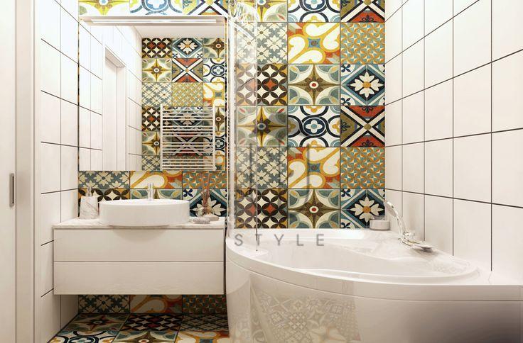 Санузел в стиле эклектика от дизайнера проекта Динары Юсуповй. Современно и стильно.