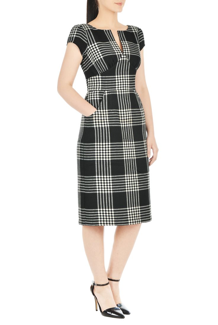 , back vent dresses, below knee length dresses, boat neck dresses, cap sleeve dresses, Curved waist Dresses, empire waist dresses, Fitted Dresses, machine wash dresses, midweight dresses, plus size dresses, pocket dresses, Polyester Dresses, side zip dresses, split neck Dresses, textured dresses, waffle check weave dresses