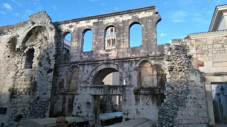 """On concluding our short but highly interesting trip to Croatia, another picture from Split. It shows the stunning """"Silver Gate"""", the eastern entrance to the mighty 3rd/4th century (AD) complex known as the Palace of the Roman Emperor Diocletian, with the much later cathedral tower crowning what used to be Diocletian's mausoleum visible behind. We are very much looking forward to offering tours in Croatia in the near future."""