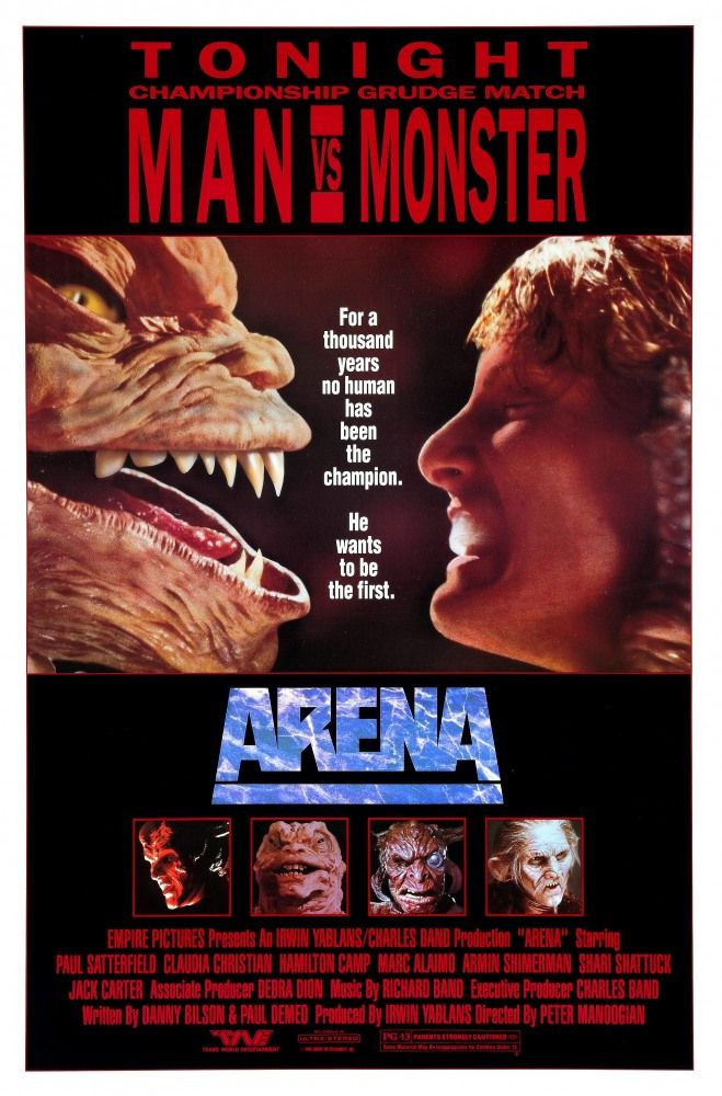 Arena (1989)PG 13  -  A human becomes an unlikely rising star in the biggest fighting tournament in the galaxy that's dominated by alien species.  -  Director: Peter Manoogian  -   Writers: Danny Bilson, Paul De Meo  -   Stars: Paul Satterfield, Hamilton Camp, Claudia Christian  -    ACTION / ADVENTURE / SCI-FI