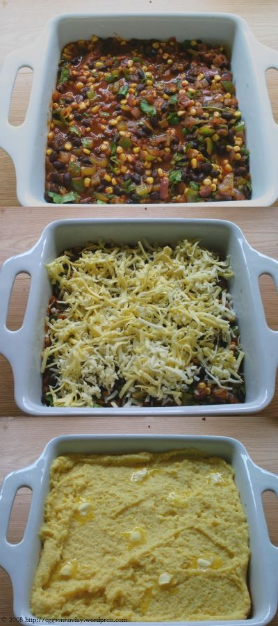 vegetarian tamale pie with black beans and no meat for the kid...