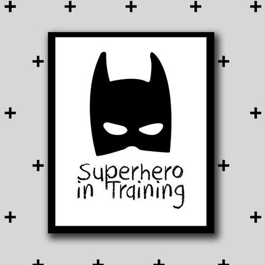 "Affiche ""Super hero in rtaining"" avec un masque de batman."