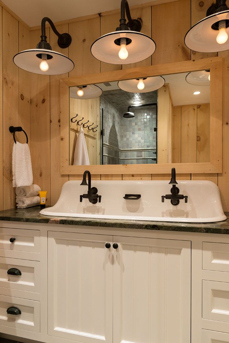 Rustic Bathroom Lighting - Rustic pine guest bathroom crisp architects