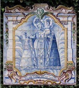 Do Tempo da Outra Senhora: Nossa Senhora no Azulejo Português - Nossa Senhora do Carmo (Último quartel do Século XVIII). Painel de azulejos (124 x 111,5 cm). Colecção Berardo.