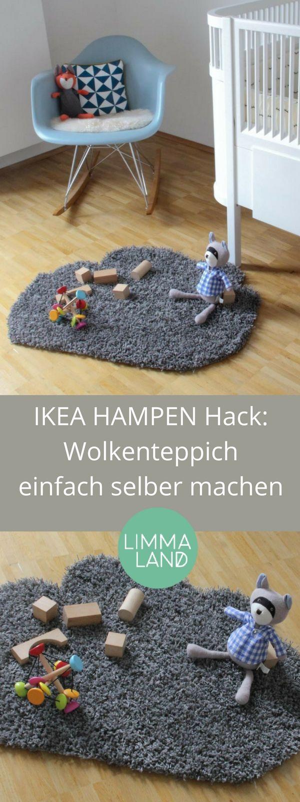 IKEA Hack für Wolken im Kinderzimmer, denn diese sind nach wie vor angesagt. Dieses schöne DIY könnt ihr aus einem IKEA Teppich selber machen. Noch mehr IKEA Hacks auf unserem Blog www.limmaland.com/blog