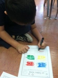 hidden words.  write with white crayon and color with marker to find word.  Nice box set of white crayons can be found at Discount School Supply.