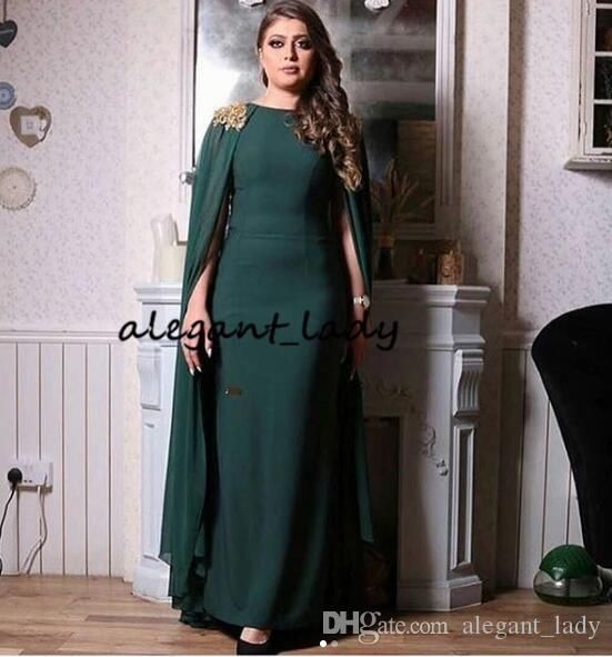 00f681f8b1 Hunter Green Evening Formal Dresses with Long Cape 2019 Jewel Neck ...