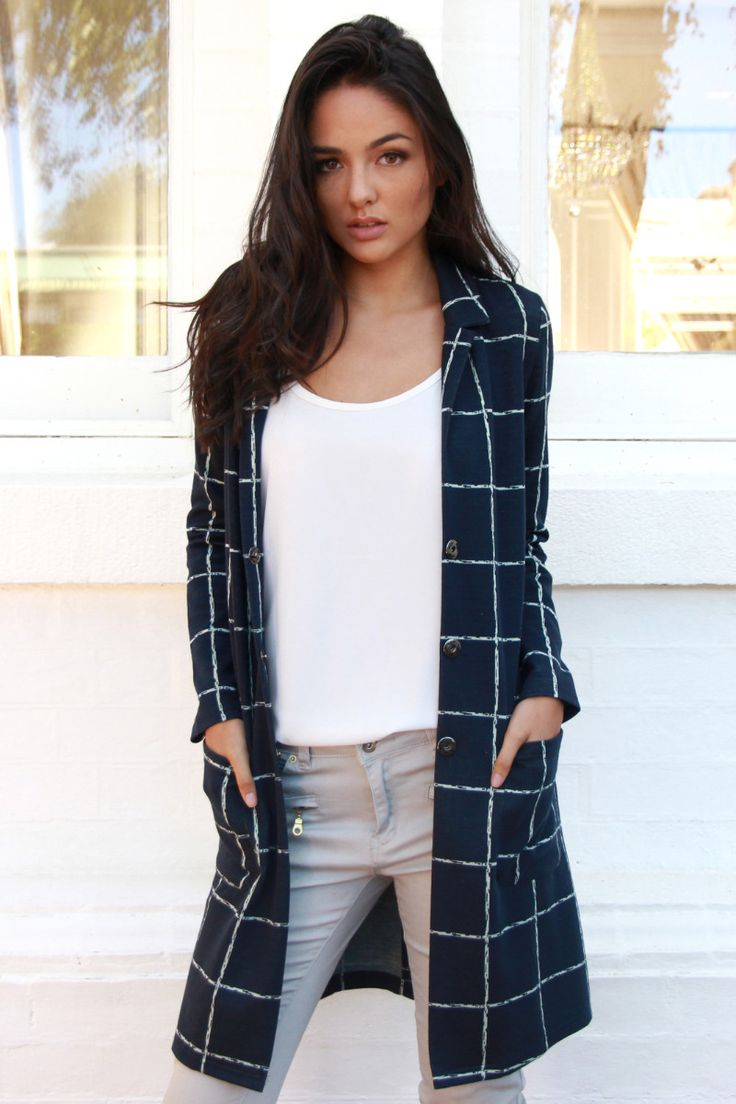 Nocturnal Grid Coat Navy - Madison Square