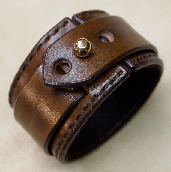 Leather cuff Bracelet custom crafted in NYC MXS mirthworksstudio