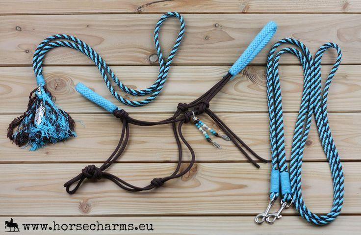 Complete voordeelset; Touwhalster, teugels, neckrope & clips - Kastanjebruin/turquoise / Complete discount set: Ropehalter, reins, neckrope & clips - Darkbrown/turqoise
