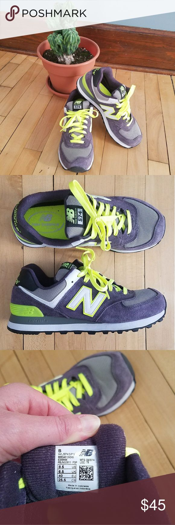 New Balance 574 Width B Grey and Neon Shoes Worn only once casually! Super comfortable, look brand new. New Balance Shoes Athletic Shoes