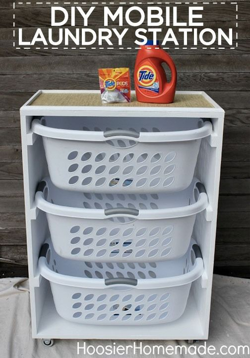 Imagine how much easier laundry will be with this DIY mobile laundry station!