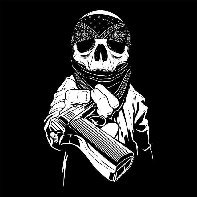 Tengkorak Memakai Bandana Tangan Di Atas Pistol Vektor Tato Tengkorak Tengkorak Bandana