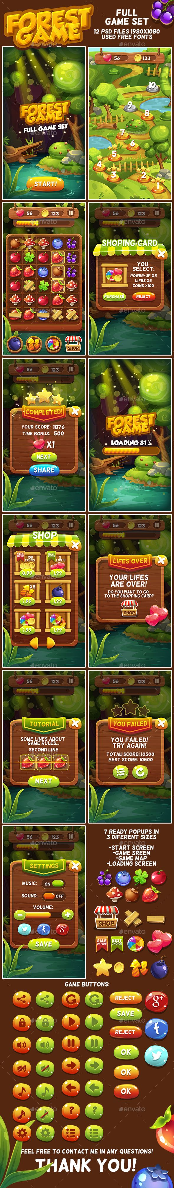 Forest Cartoon Full Game Set with GUI — Photoshop PSD #berry #magic • Available here → https://graphicriver.net/item/forest-cartoon-full-game-set-with-gui/17840742?ref=pxcr