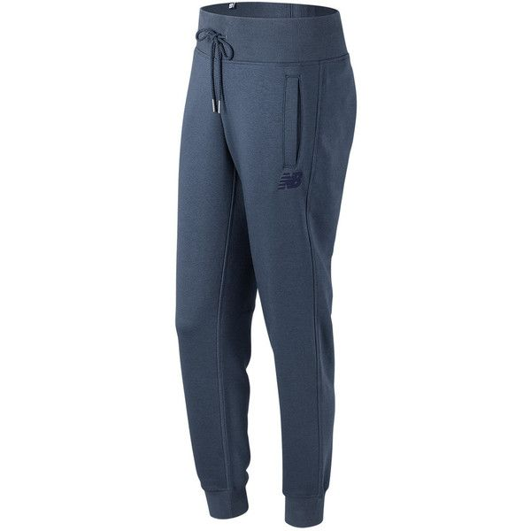 Women's New Balance Essentials Sweatpants ($65) ❤ liked on Polyvore featuring activewear, activewear pants, blue, tapered sweatpants, logo sportswear, tapered sweat pants, long sweatpants and drawstring sweat pants