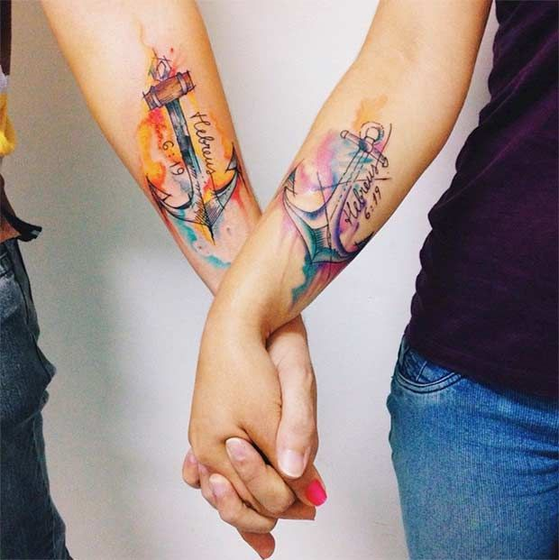 Watercolor Anchor Tattoos for Couples