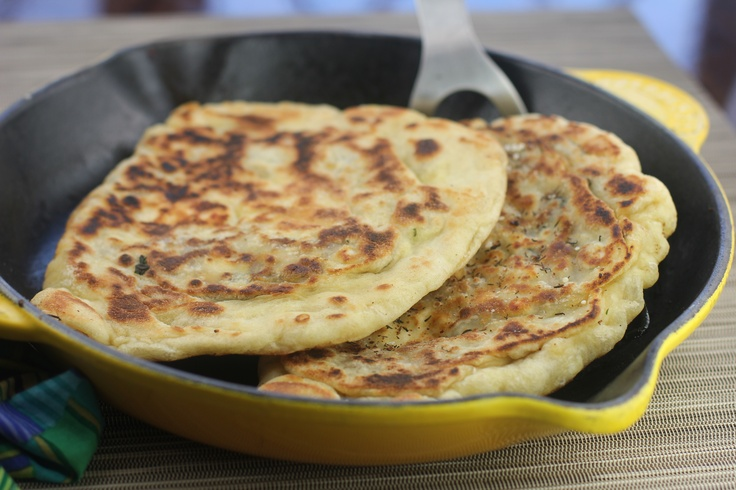 Moroccan gozleme: A Turkish flatbread, filled with spinach and lamb, and baked in a cast iron pan.