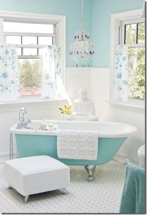 shabby chic french cottage country bathroom ... turquoise clawfoot tub