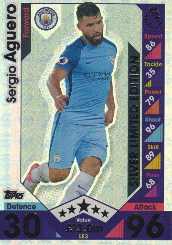 Topps Match Attax 2016/2017 Sergio Aguero Silver Limited Edition 16/17 Trading Card