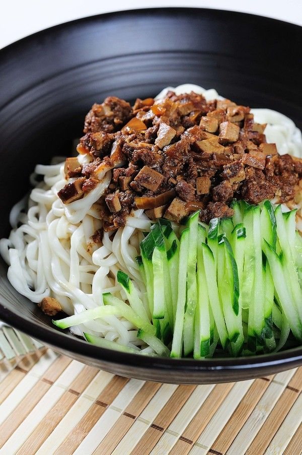 """Zha Jiang Noodles"" - dried tofu, minced pork & cucumber shred over noodles #Taiwanese cuisine 炸醬乾麵"