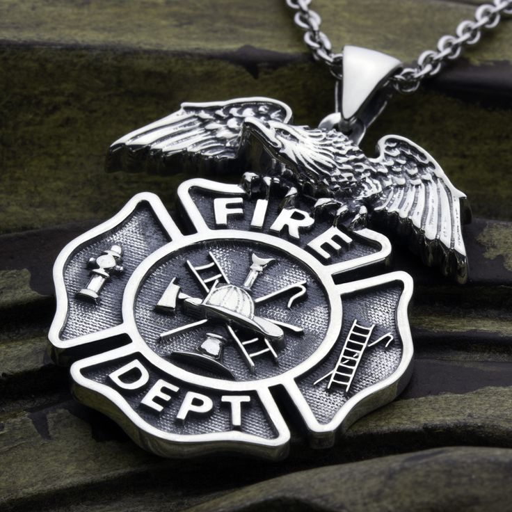 19 best firefighter sterling silver jewelry images on pinterest firefighter maltese cross fire department with eagle on top sterling silver necklace pendant david daffer designs aloadofball Choice Image