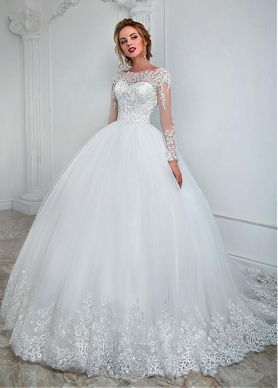 Buy discount Elegant Tulle Bateau Neckline Ball Gown Wedding Dress With Lace Appliques & Beading at Dressilyme.com