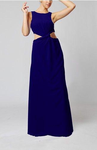 Orange Informal Sheath Sleeveless Chiffon Floor Length Ruching Wedding Guest Dresses - iFitDress.com