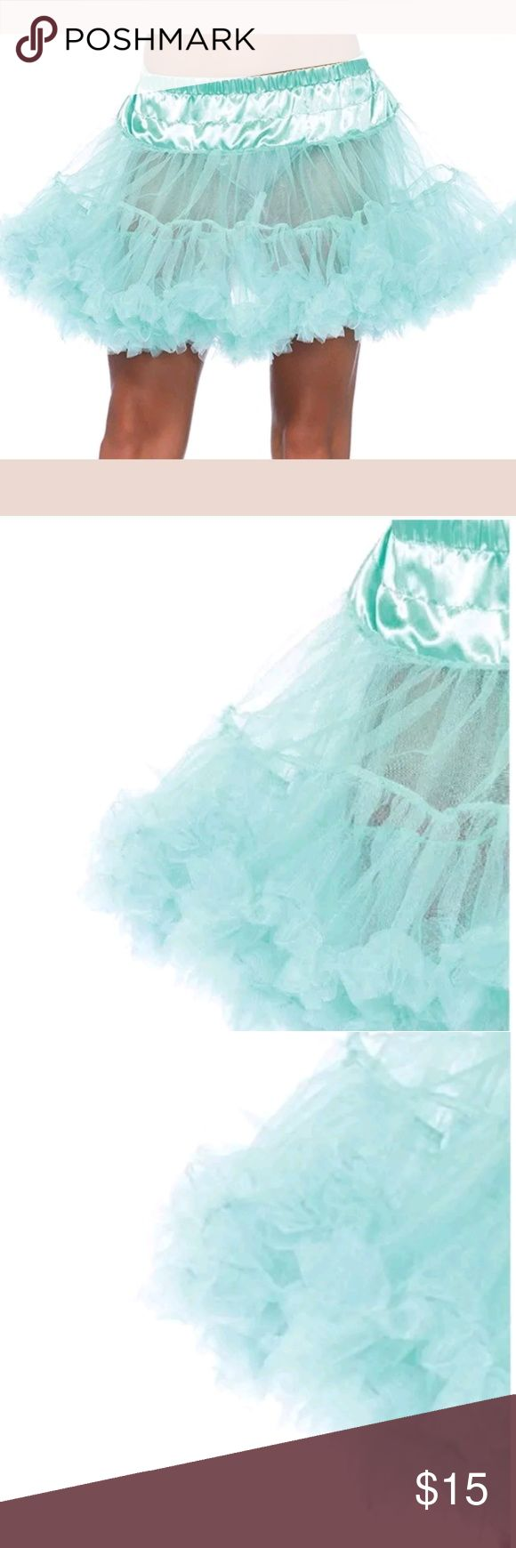 "Leg Avenue Turqoise Teal Aquamarine Petticoat OS Poof up your skirts and dresses with this awesome, affordable teal mint colored tulle petticoat from leg avenue.   ONE size fits comfortably for 24"" - 32"" Waist Leg Avenue Accessories Hosiery & Socks"