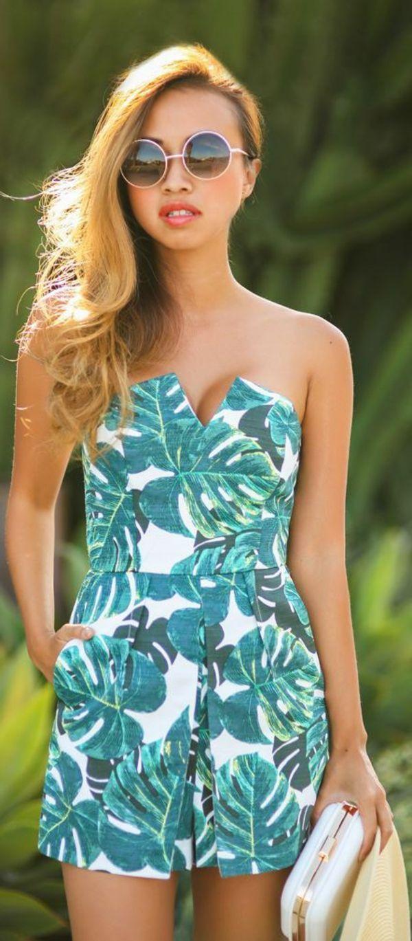 lunettes de soleil rondes, combi-short coloré, femme, mode, tendance de l'été