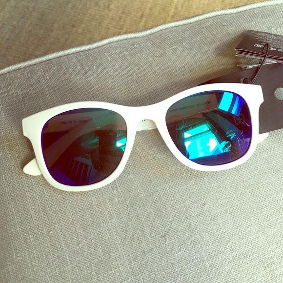 White wayfarer-style sunglasses White frames, blue/green lens, never used H&M Accessories Sunglasses