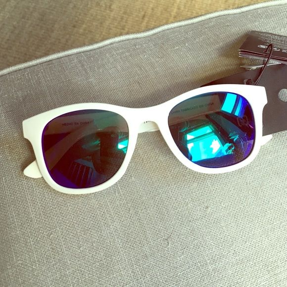 White wayfarer-style sunglasses White frames, blue/green lens, never used H&M Accessories Sunglasses