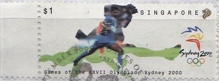 Singapore - Sydney 2000 Olympics on a postage stamp.
