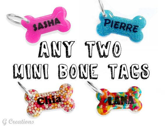 Bundle ANY TWO Small Bone Dog ID Tags  by GabriellesCreations