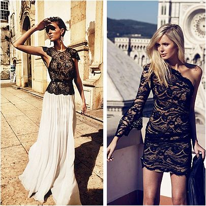 Transparan görüntülü dantel elbiseler ve bluzlar elegan bir görüntü için 2014 yılının iddialı seçimlerinden. #HandeHaluk #ZorluCenter #Fashion