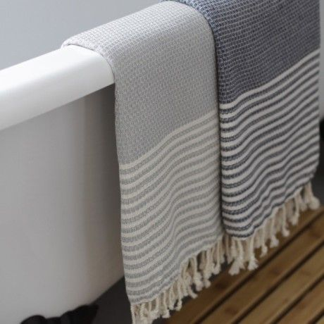 Trouva Hand Loomed Hammam Towels - Grey & Cream