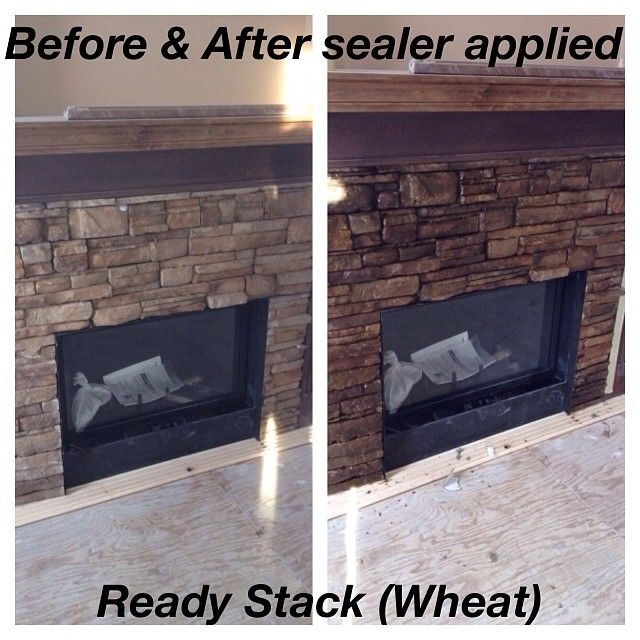 Ready Stack (Color: Wheat) #fireplace before & after applying sealer. www.KodiakMountain.com #kodiakmountainstone #beforeandafter #renovation #diy #calgary #lethbridge stonework #masonry